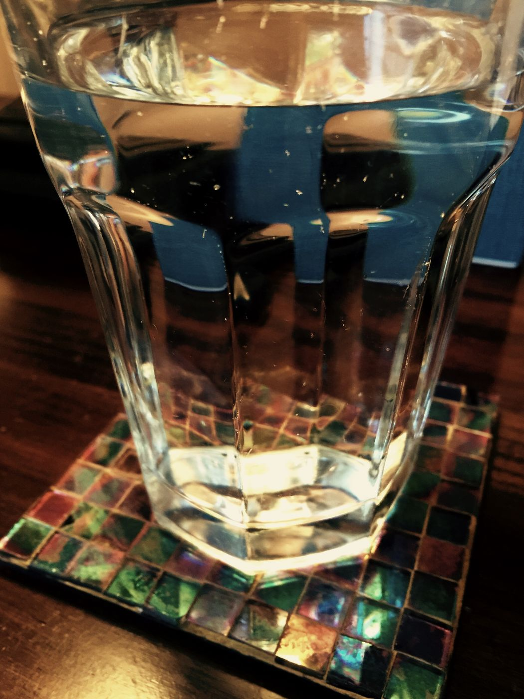 IPhoneography Cindy Greenstein Fine Art Photography Cindy Greenstein Photography Iphonephotography Iphone 6 Plus IPhoneArtism Iphone6 IPhone 6+ Water Reflection Water Glass Coaster Glass On Coaster Mosaic Tiles On Nightstand