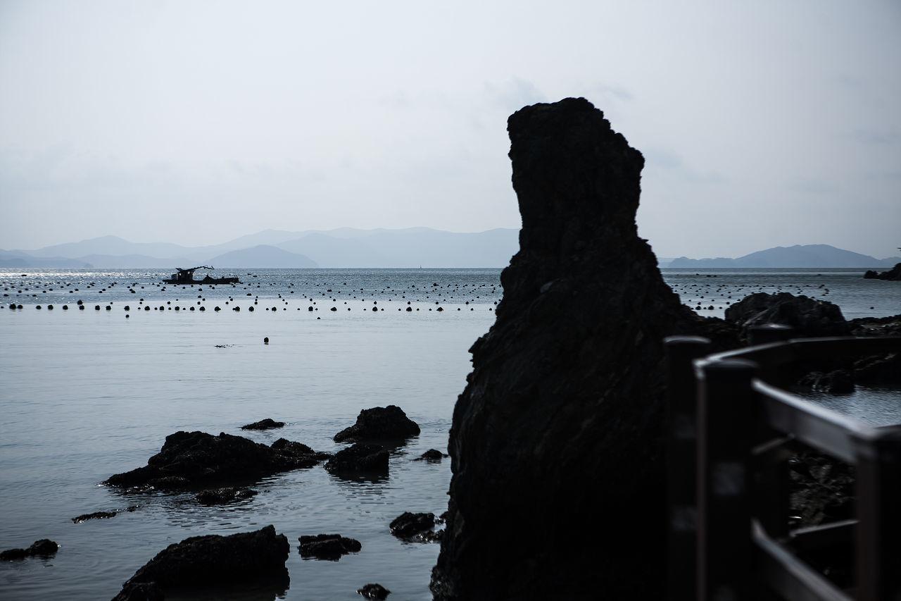 Haenam Land End Village Korea Sea Horizon Shillouette Ship
