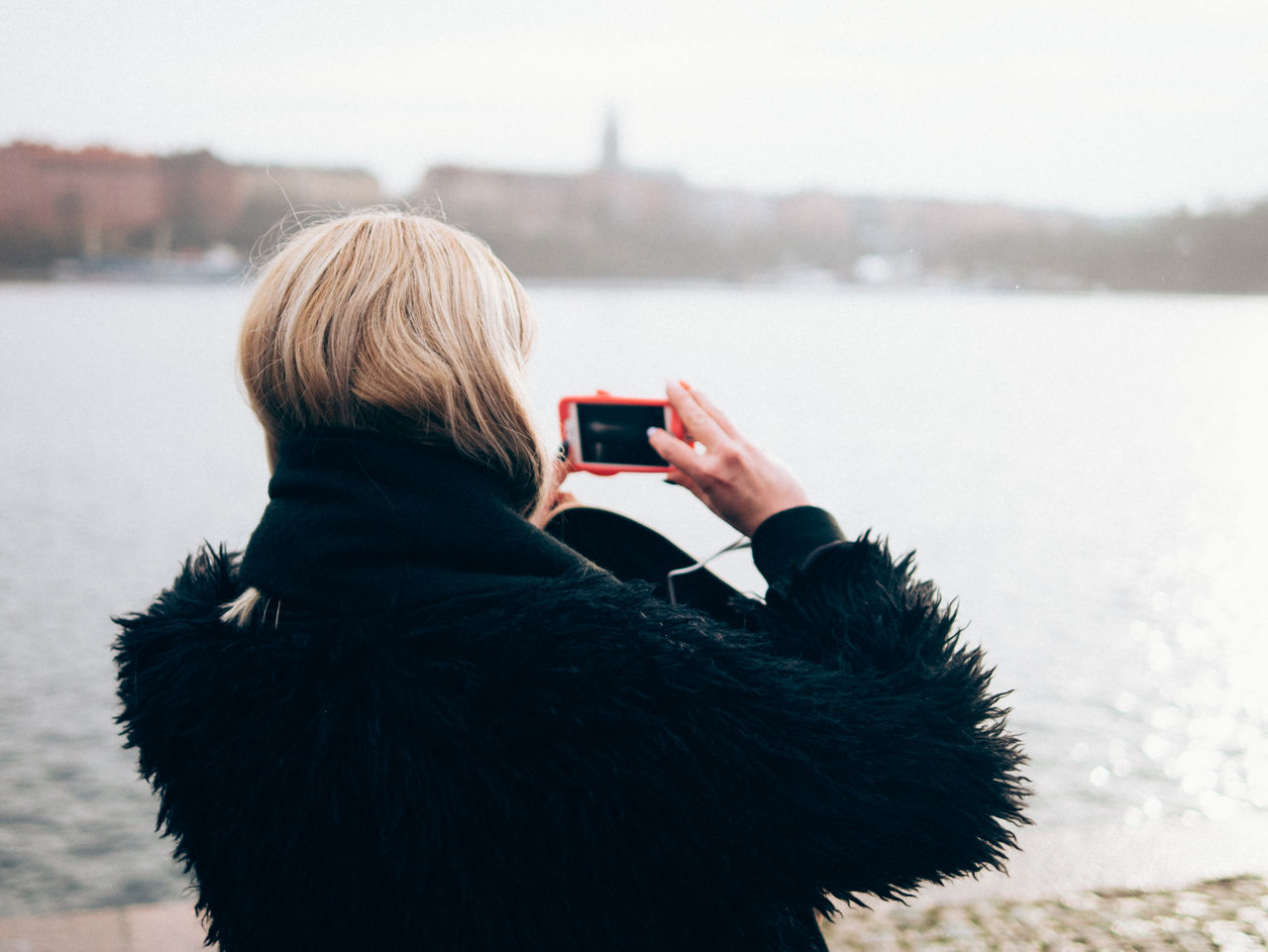 stockholm Blond Hair Camera - Photographic Equipment Photographing Photography Themes Portable Information Device Rear View Warm Clothing Women
