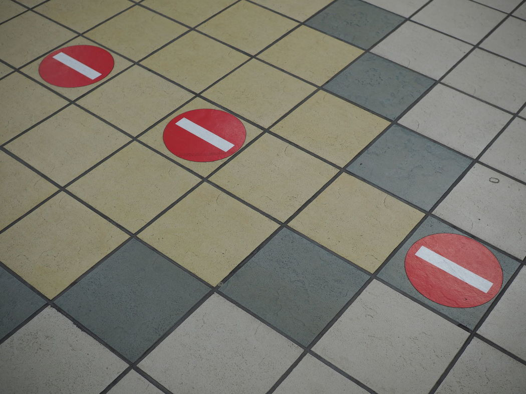Red No People Pattern Stop Sign Stopsign Stop Tiles Tile Floor Subway Station Gate Ban Squares Square Tiles No Entry No Entry Sign No Trespassing Sign Alt