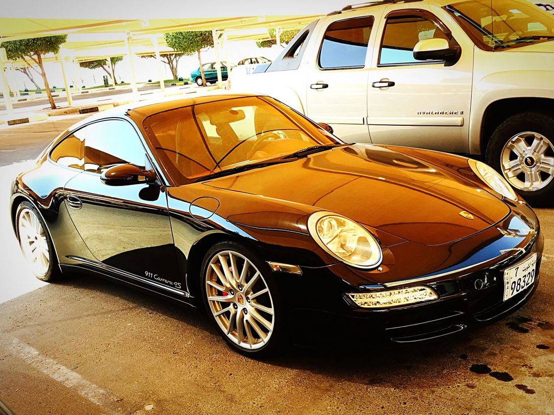Land Vehicle Transportation Parking Parked Street Mode Of Transport Car Day Porsche Porscheturbo High Angle View Porsche 911 IPhoneography IPhone Photography Vibrant Color Iphoneonly Carrera4s Style Michelin