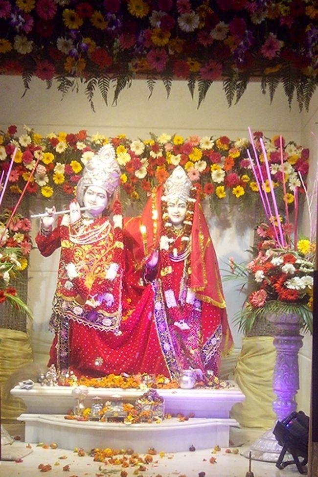 Lord Krishna  Radhe Krishna Flowers Lights Decorations Decorated Deities on MahaShivRatri at sector8, Temple Hare Krishna