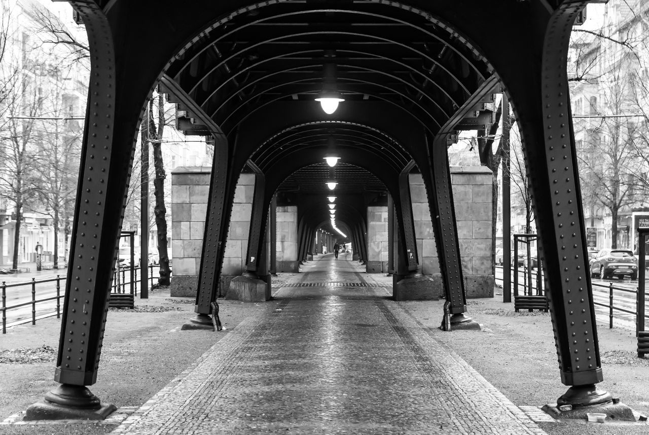 Arch Architectural Column Architecture Berlin Photography Berliner Ansichten Black And White Built Structure City Life Cold Colonnade Day History Indoors  No People One Person Prenzlauerberg Rainy Urban Escape Urban Exploration Viaduct Viadukt