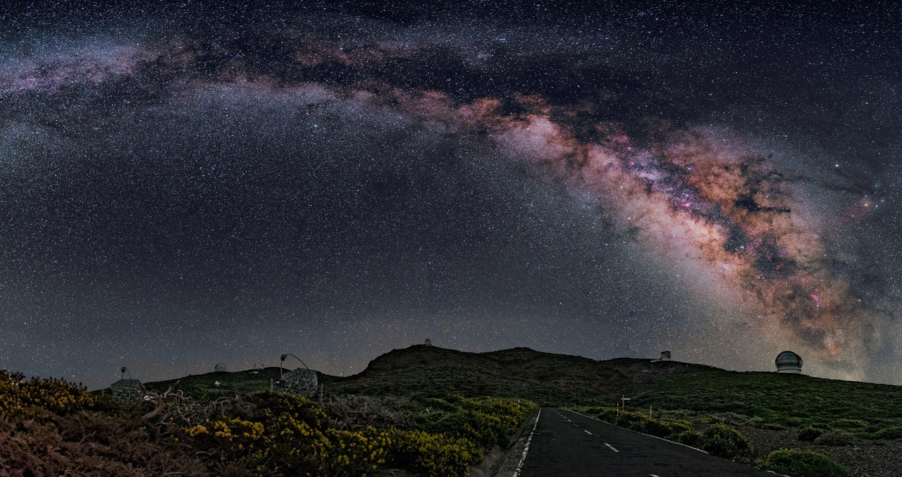 From Roque de los Muchachos Observatories, la Palma island, I made this panoramic photo of 13 images. In this place there is the largest Optical and Infrared telescope in the world, the Gran Telescopio Canarias. Under these skies, telescopes discover the mysteries of the Universe. Black Cosmos Dark Decoration Landscape Landscape_Collection Landscape_photography Long Exposure Longexposure Milky Way Milkyway Night Night Photography Night Sky Night View Nightphotography Nightshot Sky Space Space And Astronomy Stars Stars At Night Starsky Telescope Universe