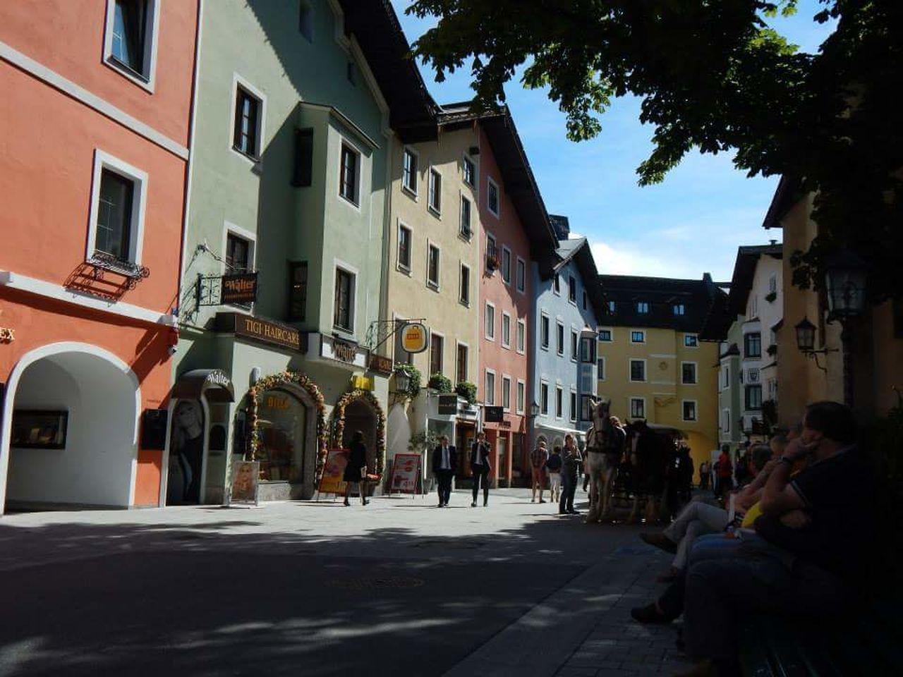 Street Building Exterior Architecture Built Structure Backgrounds Scenics Travel Destinations Colourful Places Pastels. Austria Beautiful Towns People Watching