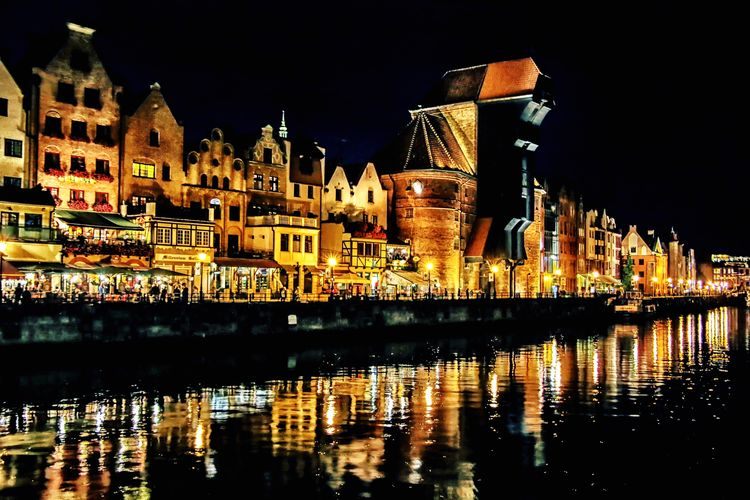Gdansk, Poland Waterfront Architecture Gdansk Travel Illuminated City Cultures