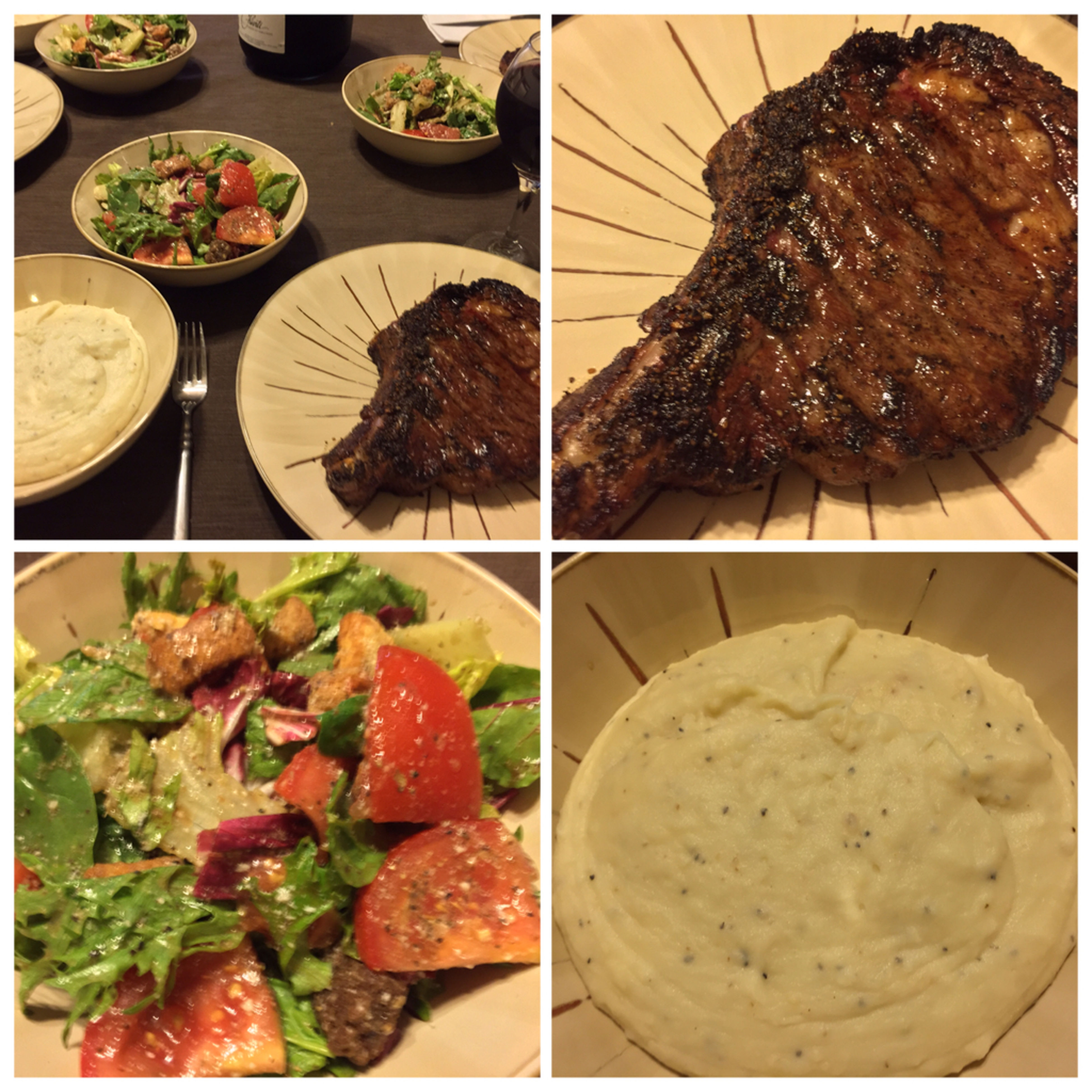 Tonight, I made ribeye steaks, mashed garlic potatoes and a nice salad. Served with my homemade 2013 Californian Merlot/Barbera blended wine. Grilling Steaks ICanCookMyAssOff ItsAnItalianThing Nomnombomb MyFoodPics LaDolceVita