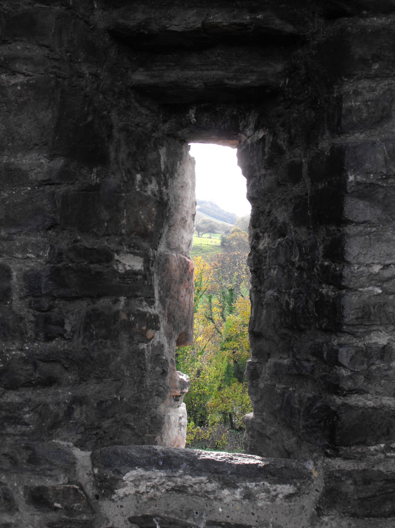 a view from a castle tower Ancient Ancient Civilization Architecture Autumn Battlements Britain British Built Structure Castle Day Europe European  Fall History Hole Holiday Indoors  Medieval Nature No People Shooting Tower Vista Window бойница