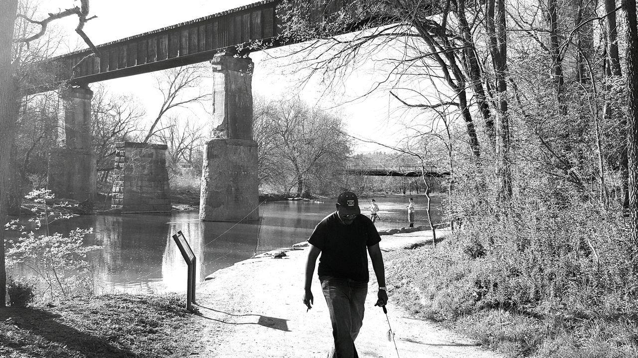 River View Black And White Water Bridge Grainy Path Nature Battelle Darby Columbus, Ohio Photobombed