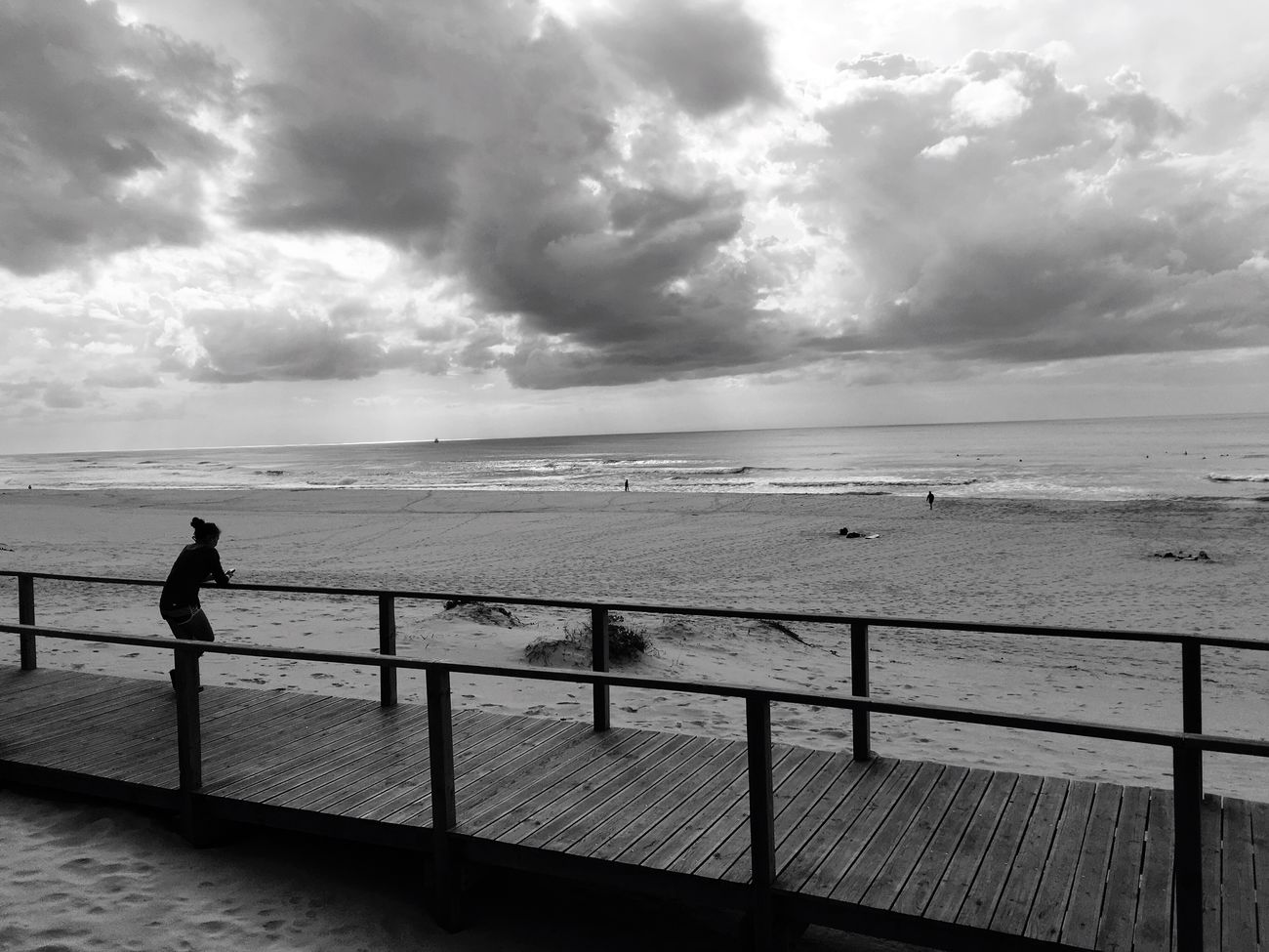 Beach watching Tranquility Leisure Activity Shore Work Break Tranquility Beauty In Nature Relaxing Moments Sunny Afternoon Cloudy Sea And Sky Seaside Seashore Autumn Lights Black & White Nature