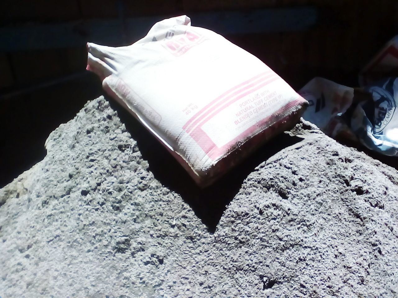 a bag of cement.