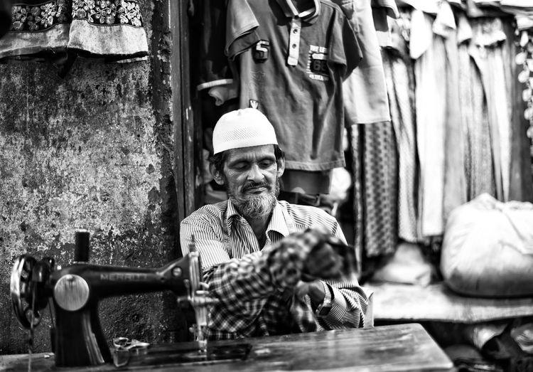 The Portraitist - 2017 EyeEm Awards The Street Photographer - 2017 EyeEm Awards Portrait Photography Portrait Of A Man  Portrait_shots Tailor Tailor Shop Portaitshooting Stitching Stitching Machine Stitching Clothes