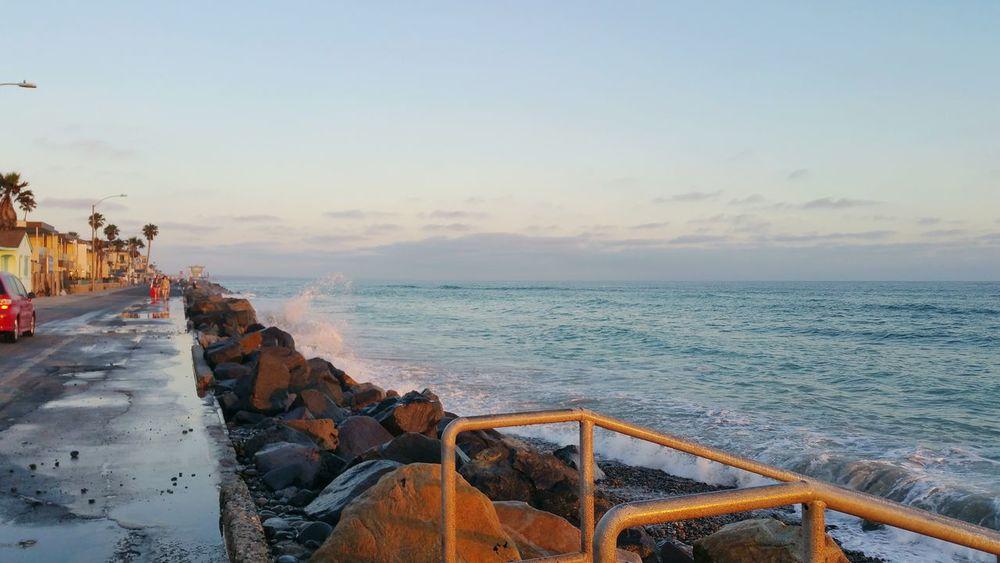 Southern California San Diego County Oceanside California Oceanside Beach Life High Tide Pacific Coast Highway