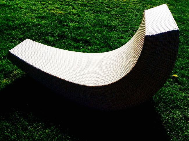 Grass Green Color High Angle View Growth No People Nature Outdoors Day Close-up Seat Garden White Curve
