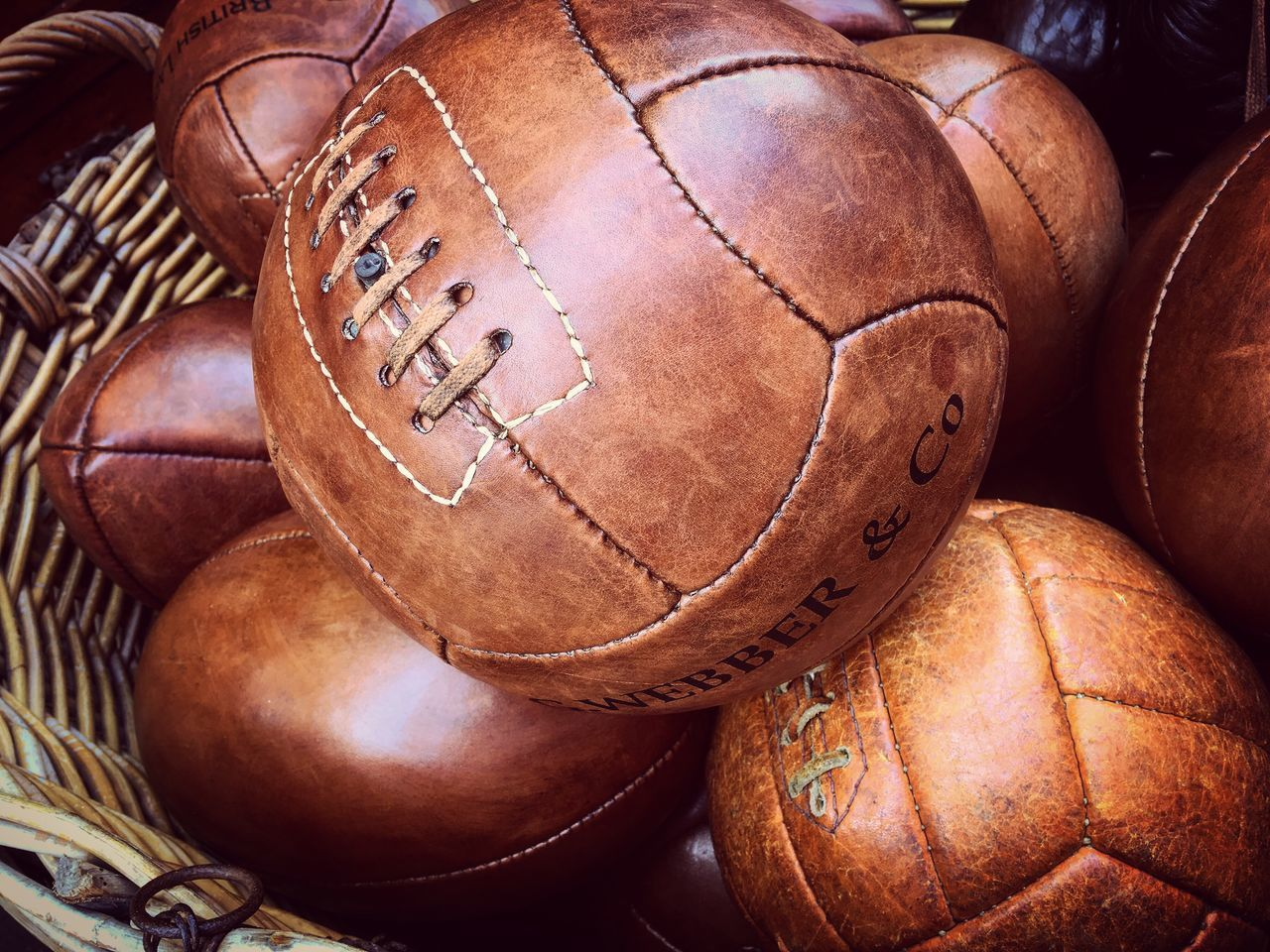 Leather Ball Balloons Leather Ball Vintage Vintage Ball Sport Brown Close-up Objects Old-fashioned Leather Art Object Object Photography Design Market Puces De Saint Ouen  Paris