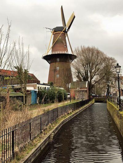 Windmill Utrecht , Netherlands Water Street Sky And Clouds Molen