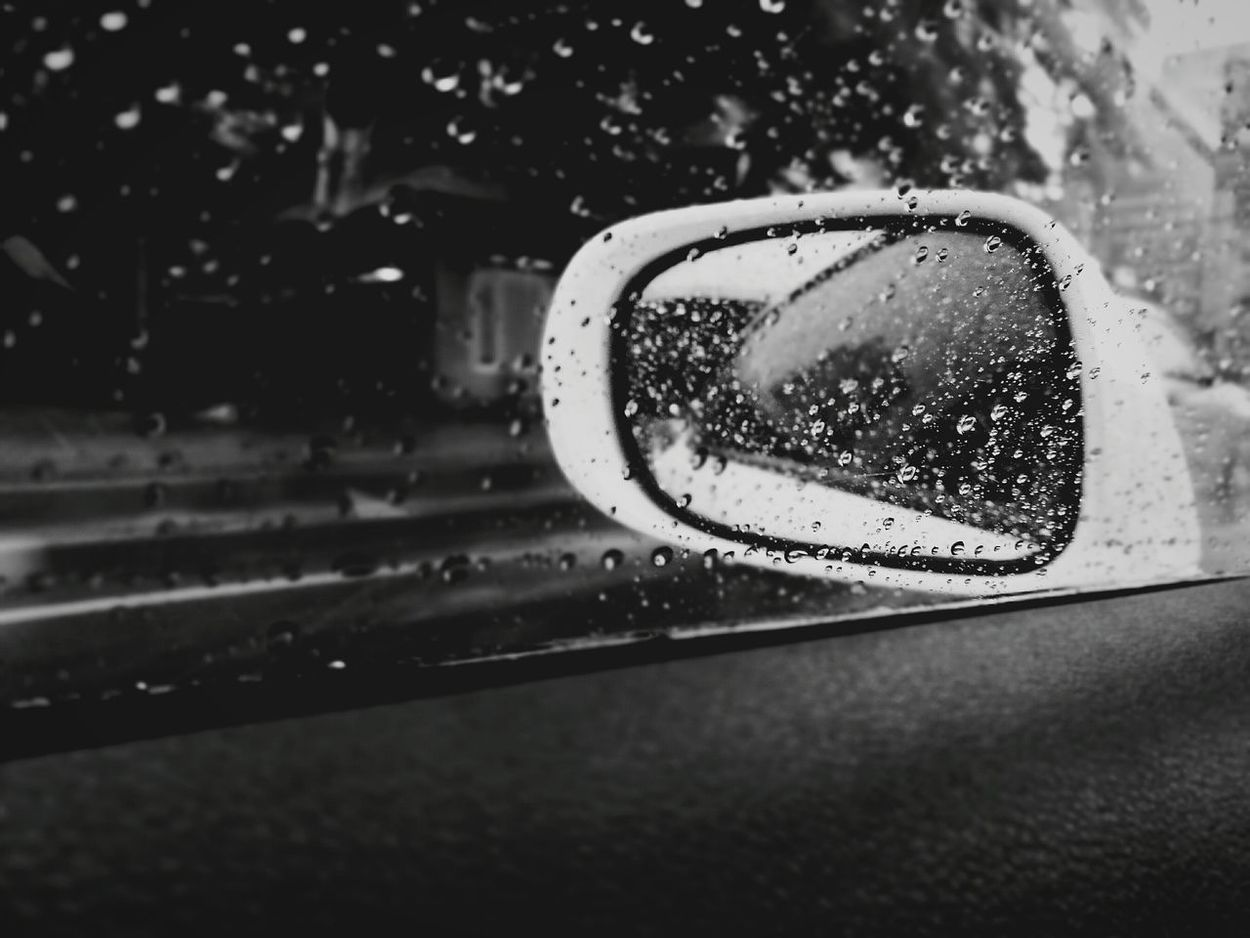 Sideviewmirror Wing Mirror  Raining Day In Car Traffic Bangkok City Lexus Monochrome Monochrome Photography