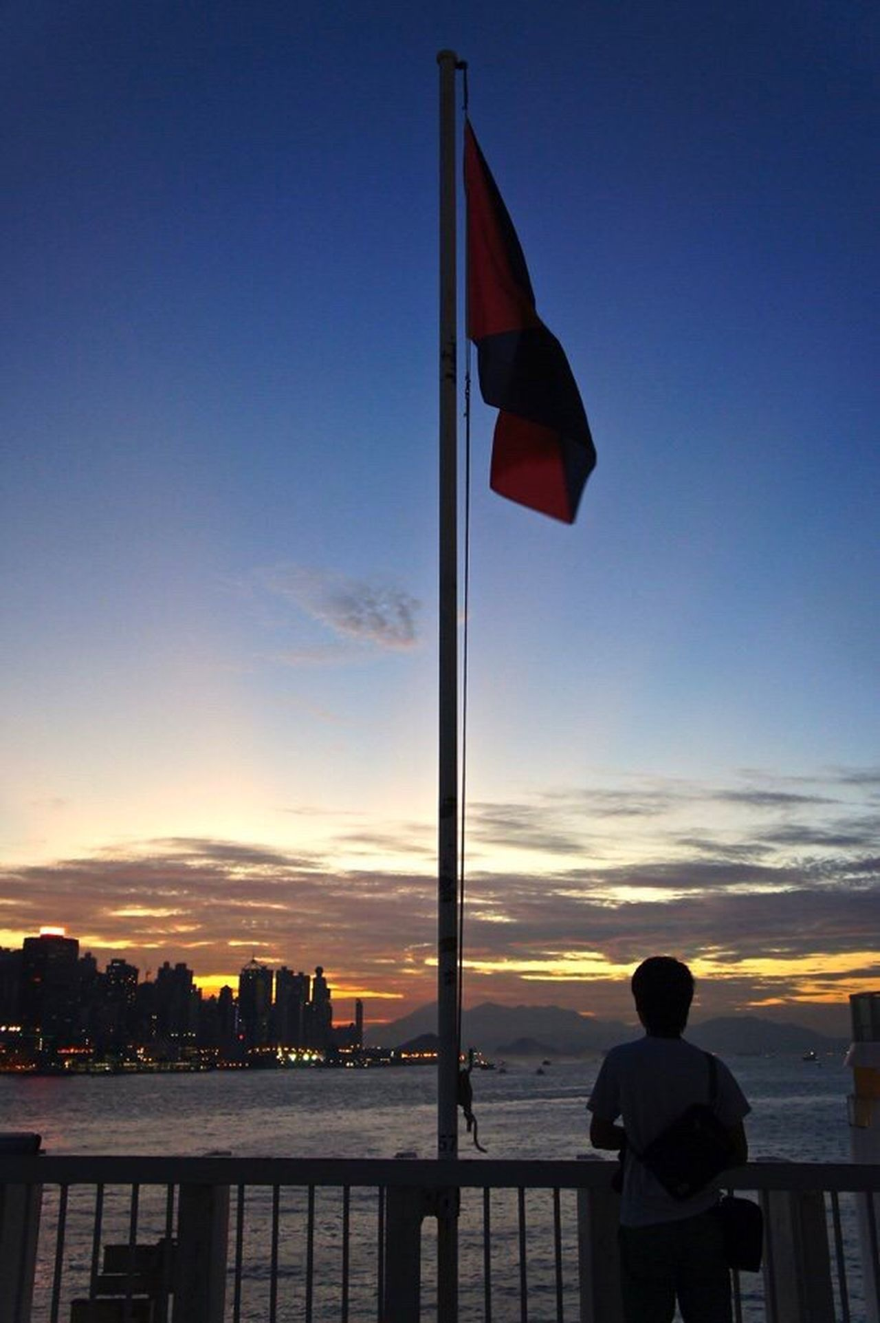 Magic Hour Victoria Harbour HongKong Wanderlust Wandering Around Aimlessly Flag Sunset Sunset Silhouettes The Sun Is Setting Sunset_collection Hong Kong Victoria Harbour ASIA Sky_collection