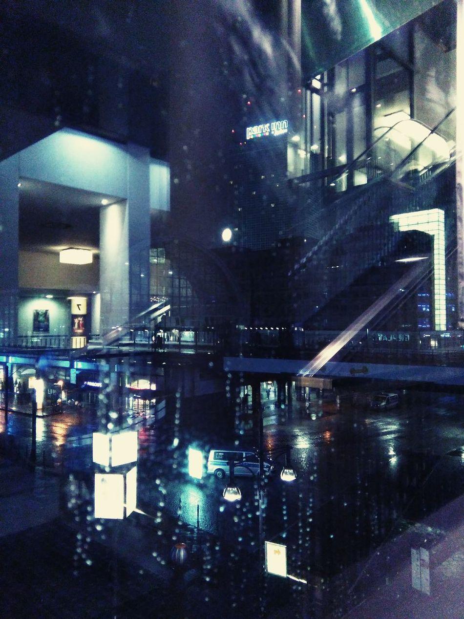 Lights Night Lights City Lights Street Streetlights Reflections Abstract Architecture Blue Window Raindropsonmywindow Rainystreets