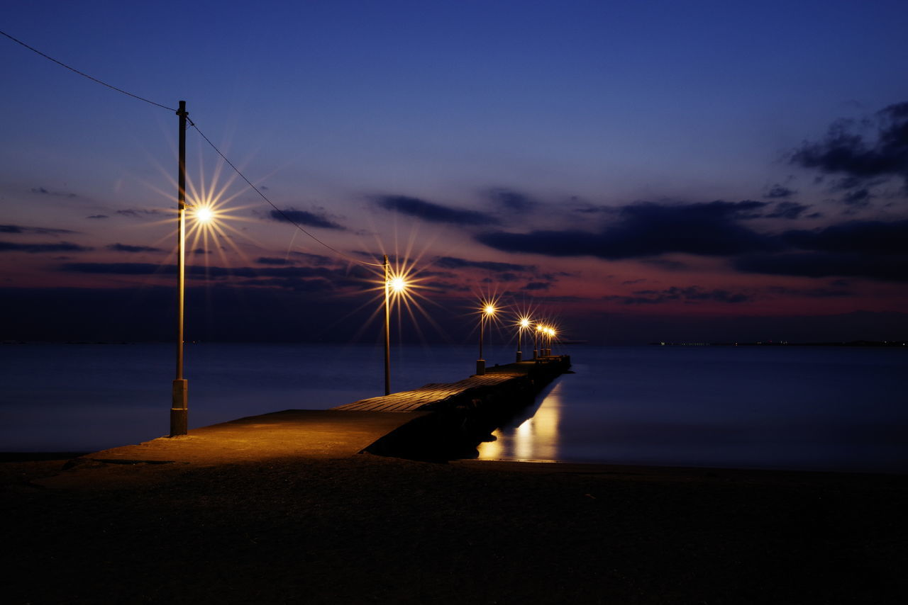 Beach Reflection Water Sea Nautical Vessel Night Sky Sunset Landscape Blue Horizon Over Water Pier Magic Hour 原岡海岸 Nightshot Lightup Sunset Silhouettes Night Photography Sunset And Clouds  Seascape Sea_collection