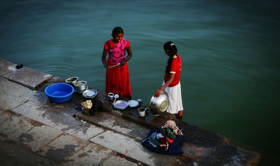 Indian Culture  India Everyday Life After School By The Lake Badami Badami India Karnataka