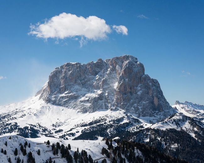 Snow Mountain Winter Nature Beauty In Nature Tranquility Cold Temperature Scenics Physical Geography Sky Tranquil Scene Non-urban Scene Outdoors No People Day Skiing Dolomites, Italy Langkofel Winter Landscape Landscape_photography Landscape_Collection Mountain View Blue Sky Mountains And Sky