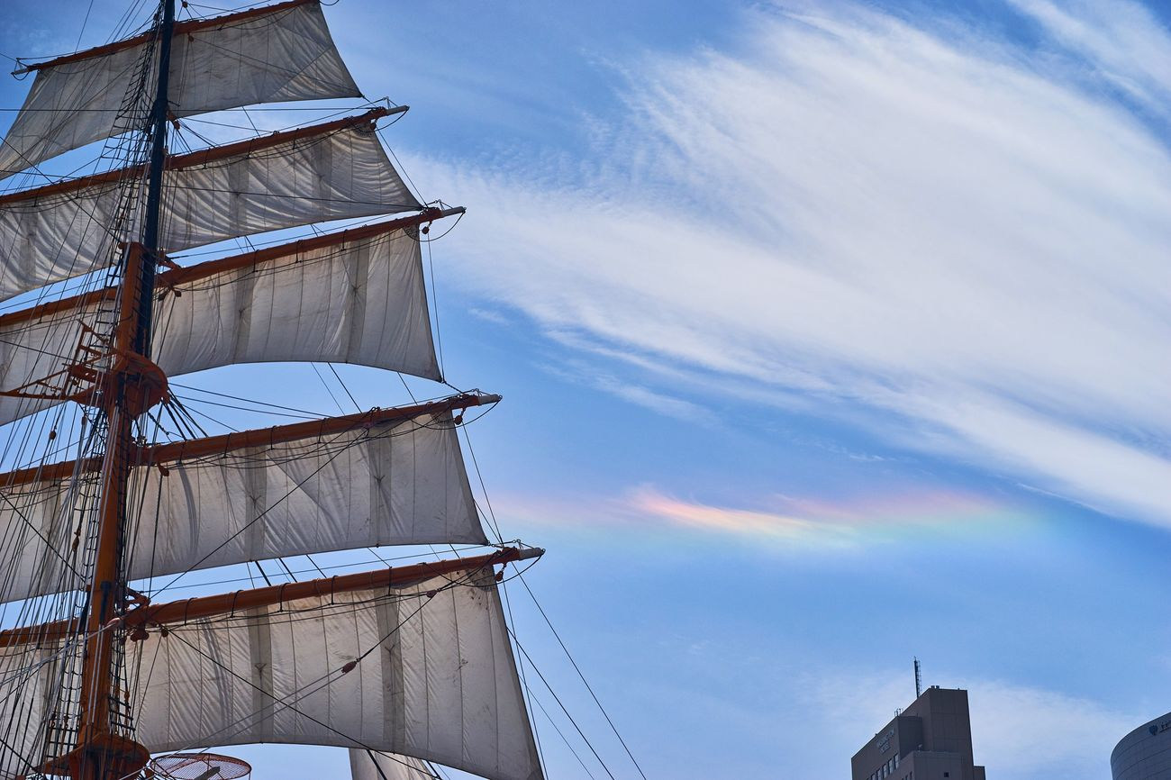 Sky Mast Cloud - Sky No People Nautical Vessel Outdoors Tall Ship Low Angle View Built Structure Day Architecture Sailing Ship Nature Sail Bluesky Rainbow EyeEm Best Shots Blue Sky