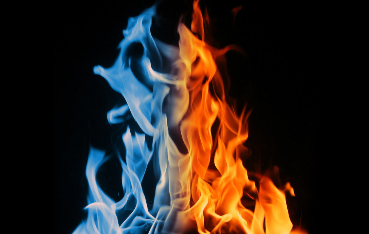 close-up, no people, night, black background, blue, flame, outdoors