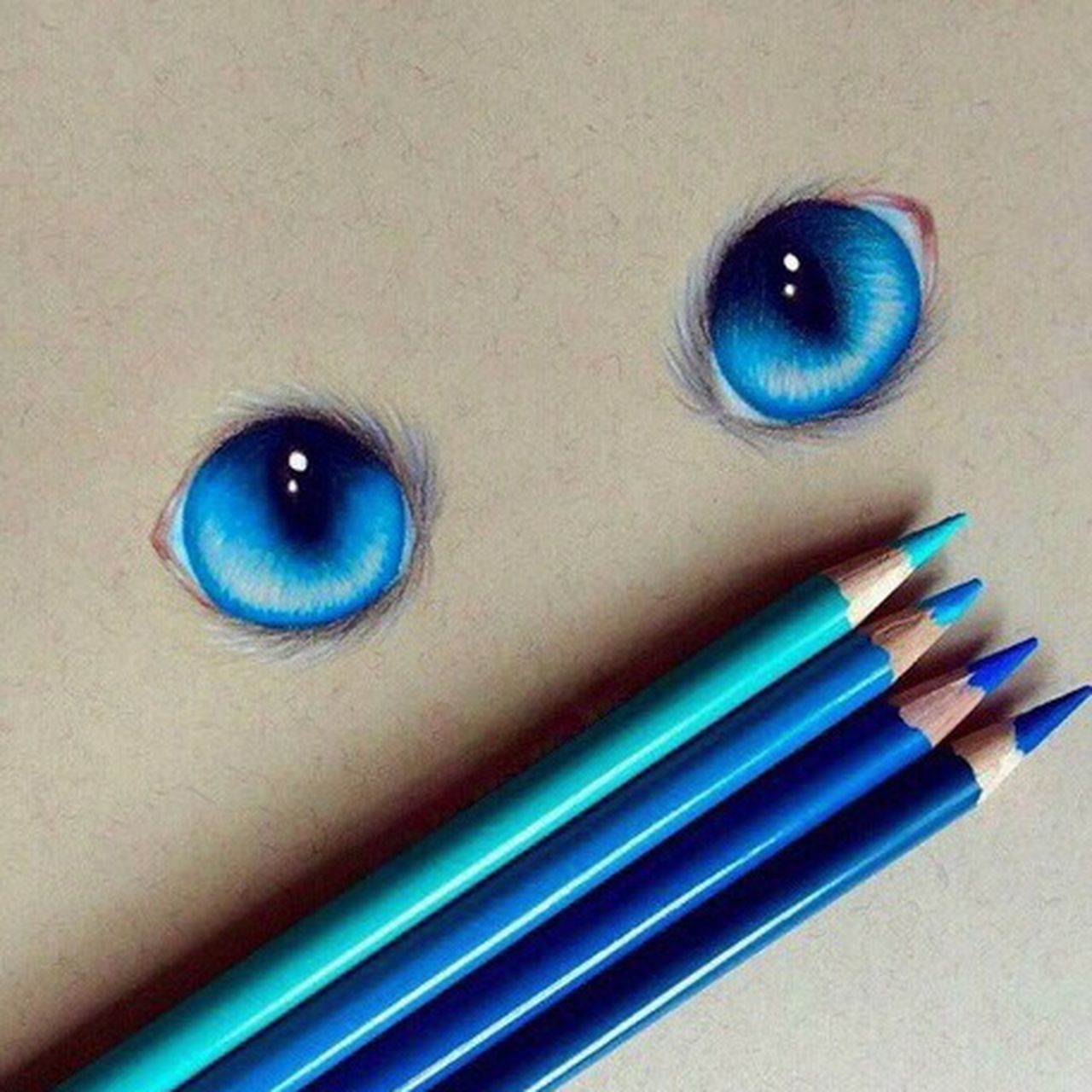 See you when i see you... Drawing Eyes Cateyes Colorful Blue Eyes Hobby