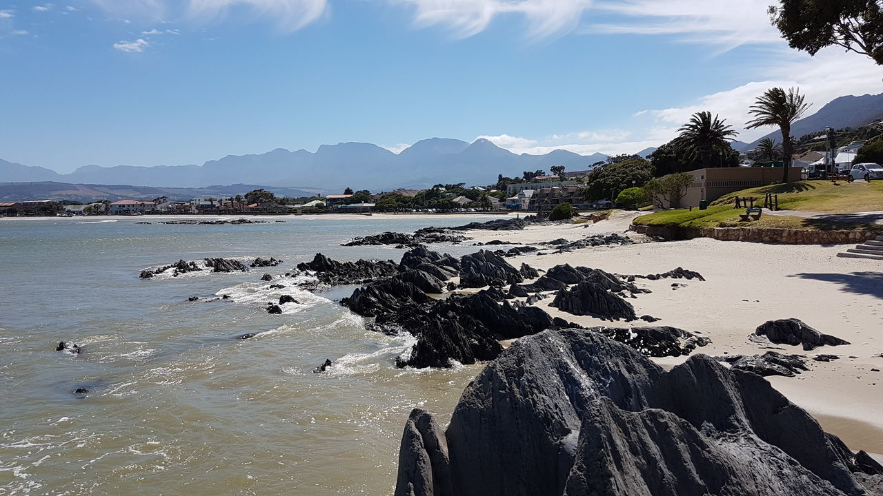 GORDON'S BAY Beach with the Cederberg Mountains in the background.