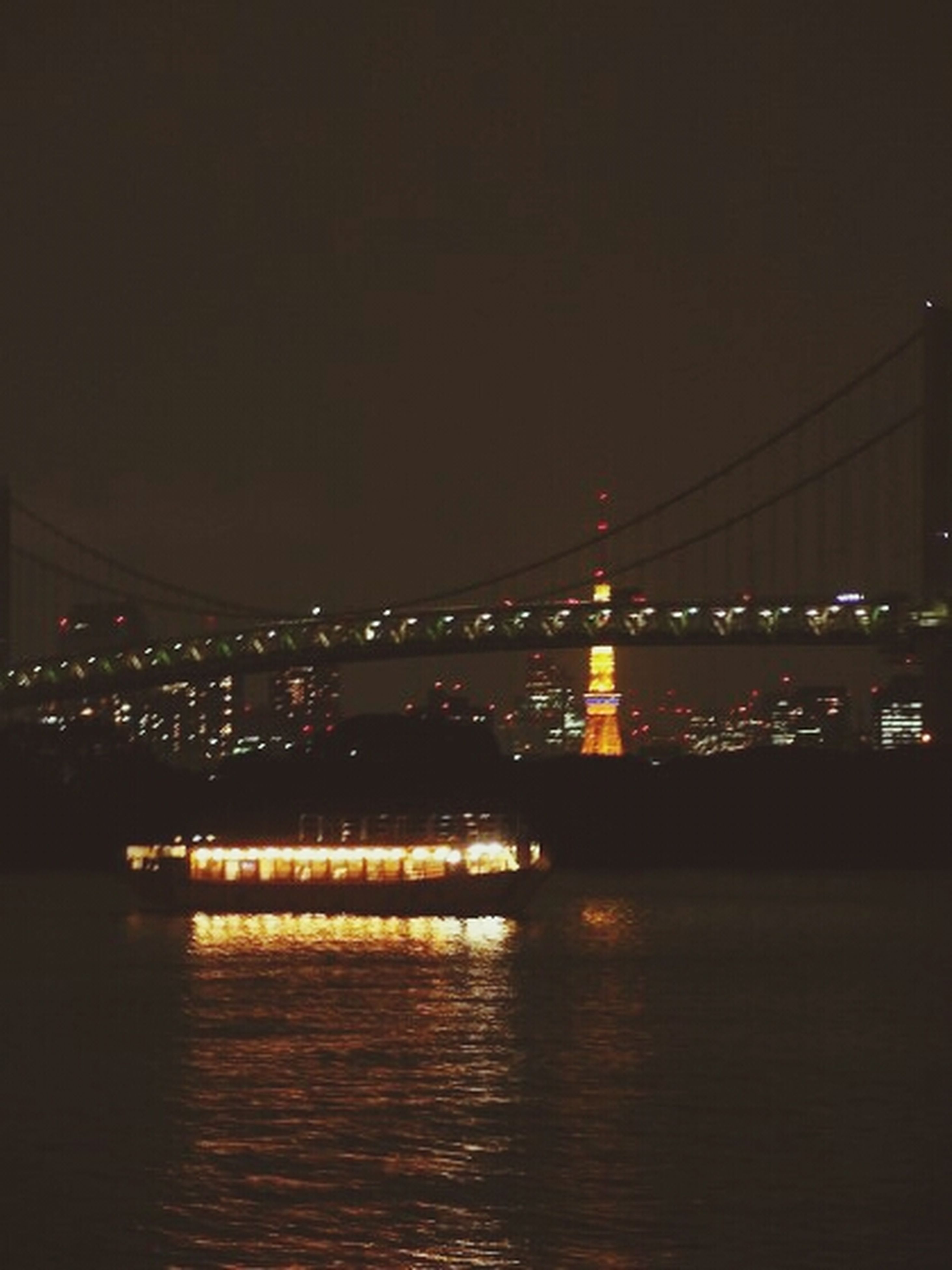 illuminated, night, connection, architecture, built structure, bridge - man made structure, water, river, waterfront, bridge, engineering, copy space, transportation, city, clear sky, suspension bridge, reflection, sea, sky, building exterior