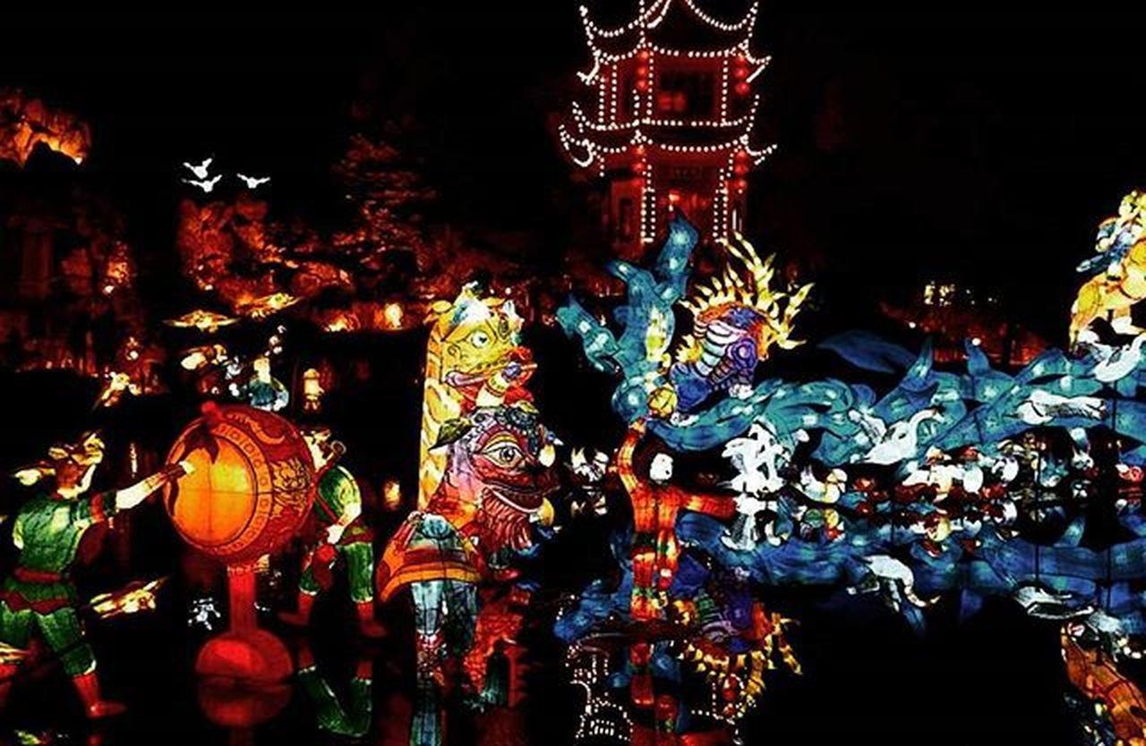 lighting equipment, illuminated, hanging, lantern, multi colored, celebration, indoors, night, no people, chinese new year, close-up