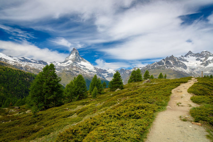Beauty In Nature Cloud - Sky Day Landscape Matterhorn  Mountain Mountain Range Nature No People Outdoors Scenics Sky Snow Swiss Alps Tranquil Scene Tranquility