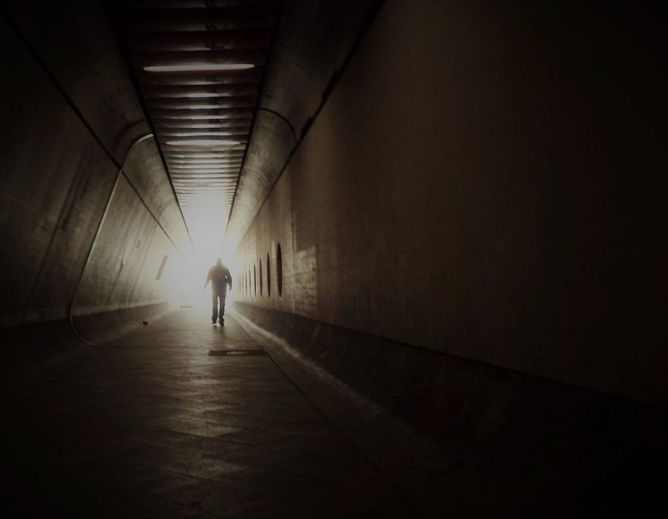 Architecture Full Length Indoors  Light At The End Of The Tunnel One Person Rear View Silhouette The Way Forward Tunnel Underground Walking