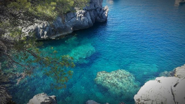 Water Rock Formation Rock - Object Blue Sea Non-urban Scene Nature Beauty In Nature Geology Rock Seascape High Angle View Mallorca SPAIN Sa Calobra No People Clear Water Blue Water Rocks In Water Rocks Underwater Outdoors Remote