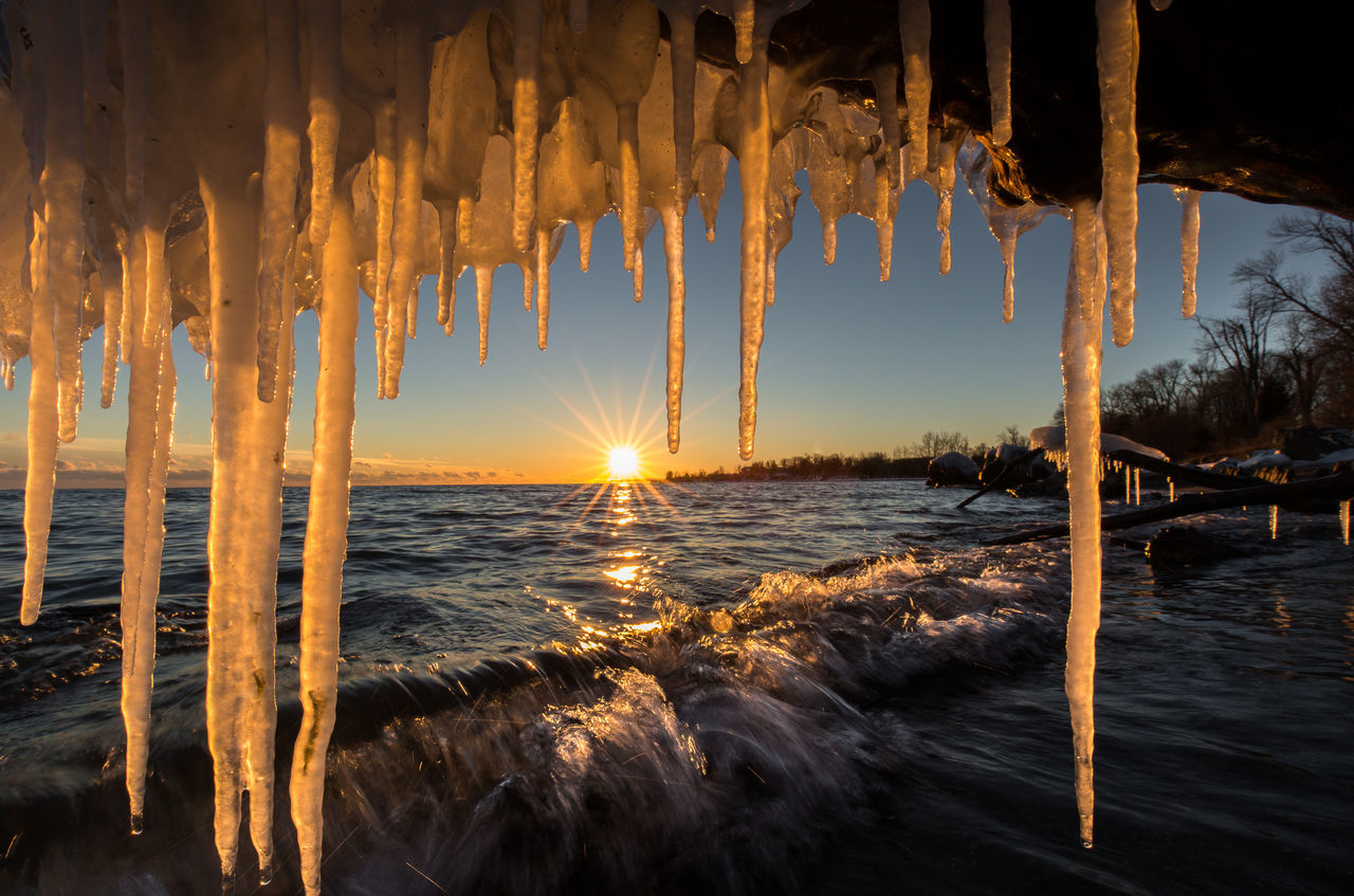 Beach Beautiful Beauty In Nature Colors Day Icicles Nature No People Outdoors Sun Sunset Water Wave Winter