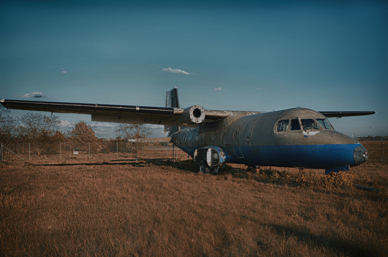 military, field, air vehicle, day, airplane, no people, outdoors, flying, sky, airport runway, aerospace industry, nature