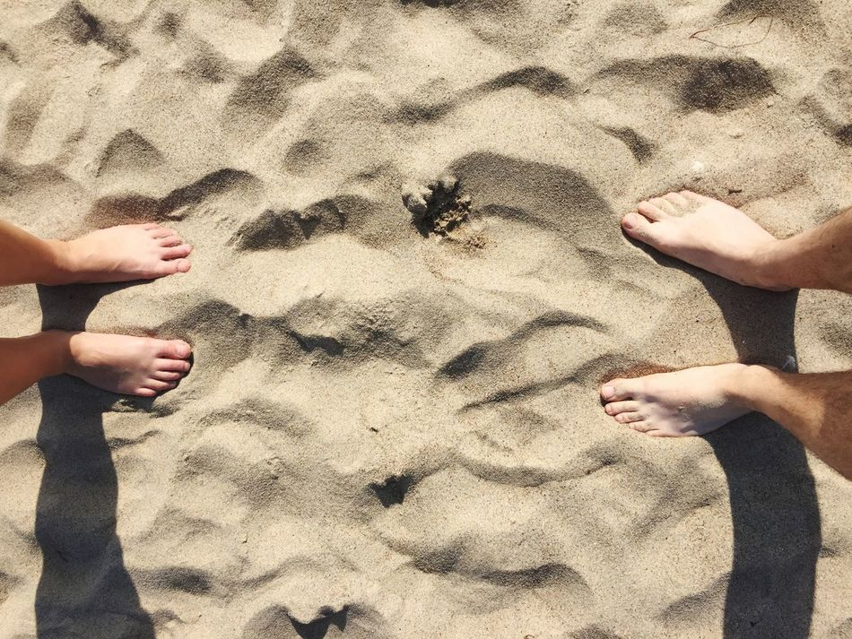 Sand Beach Two People Sunlight Barefoot Shadow Day Real People Human Body Part Human Hand Outdoors Beach Holiday Vacations Close-up Togetherness Human Leg People Adult