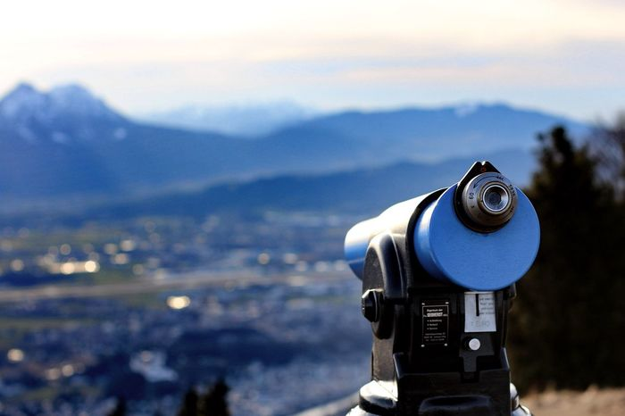 Coin-operated Binoculars Focus On Foreground Scenics Mountain Telescope City Outdoors Day No People Cityscape Home Video Camera Sky Filming Salzburg, Austria Gaisberg Austria
