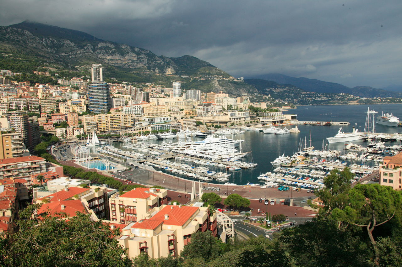 Monaco Aerial View Architecture Building Exterior Built Structure Business Finance And Industry City Cityscape Cloud - Sky Day Downtown District Harbor Monaco Mountain Nautical Vessel No People Roof Scenics Sea Sky Skyscraper Travel Destinations Urban Skyline Water Yacht