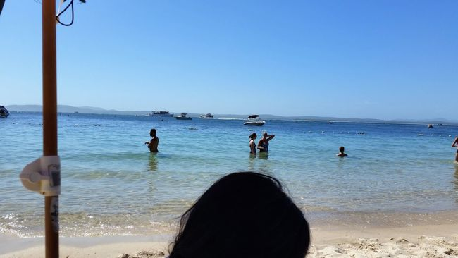 Afternoon at the beach Adult Afternoon Sun Bay Beach Blue Water Clear Sky Day Horizon Over Water Horizontal Hot Day Human Body Part Leisure Activity Lifestyles Little Beach Nature Nelson Bay One Person Outdoors People Person Sea Sky Summertime Sunnyday☀️ Water