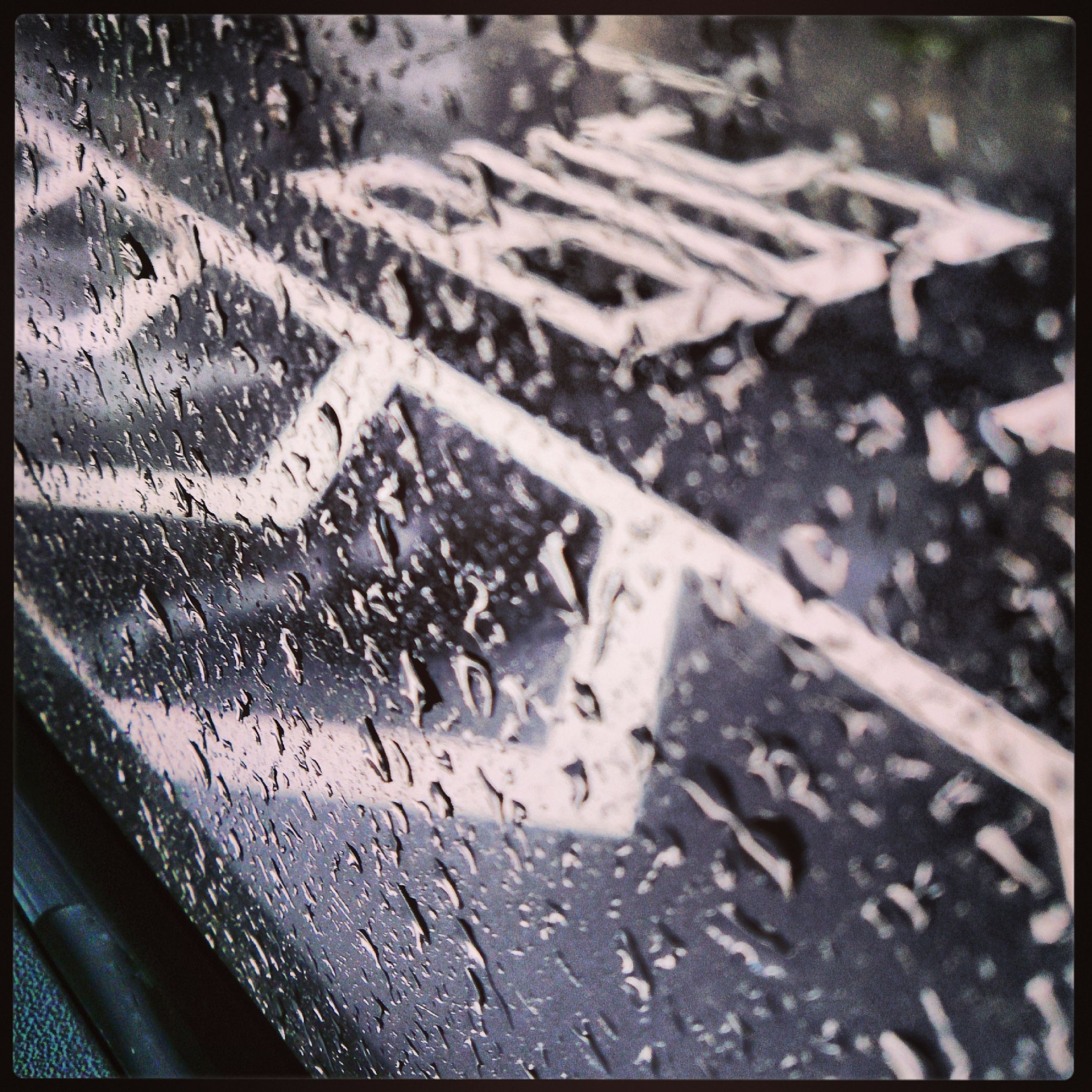 transfer print, auto post production filter, high angle view, water, wet, transportation, road, season, glass - material, rain, transparent, window, street, indoors, day, weather, car, drop, no people