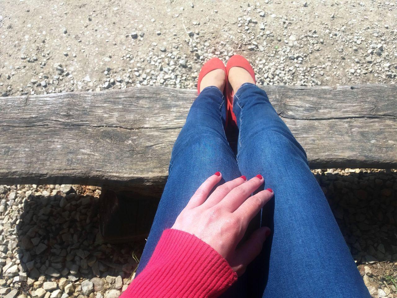 Jeans Red Ballerina Shoes Blue Human Body Part Human Leg One Person Outdoors Sunlight Women