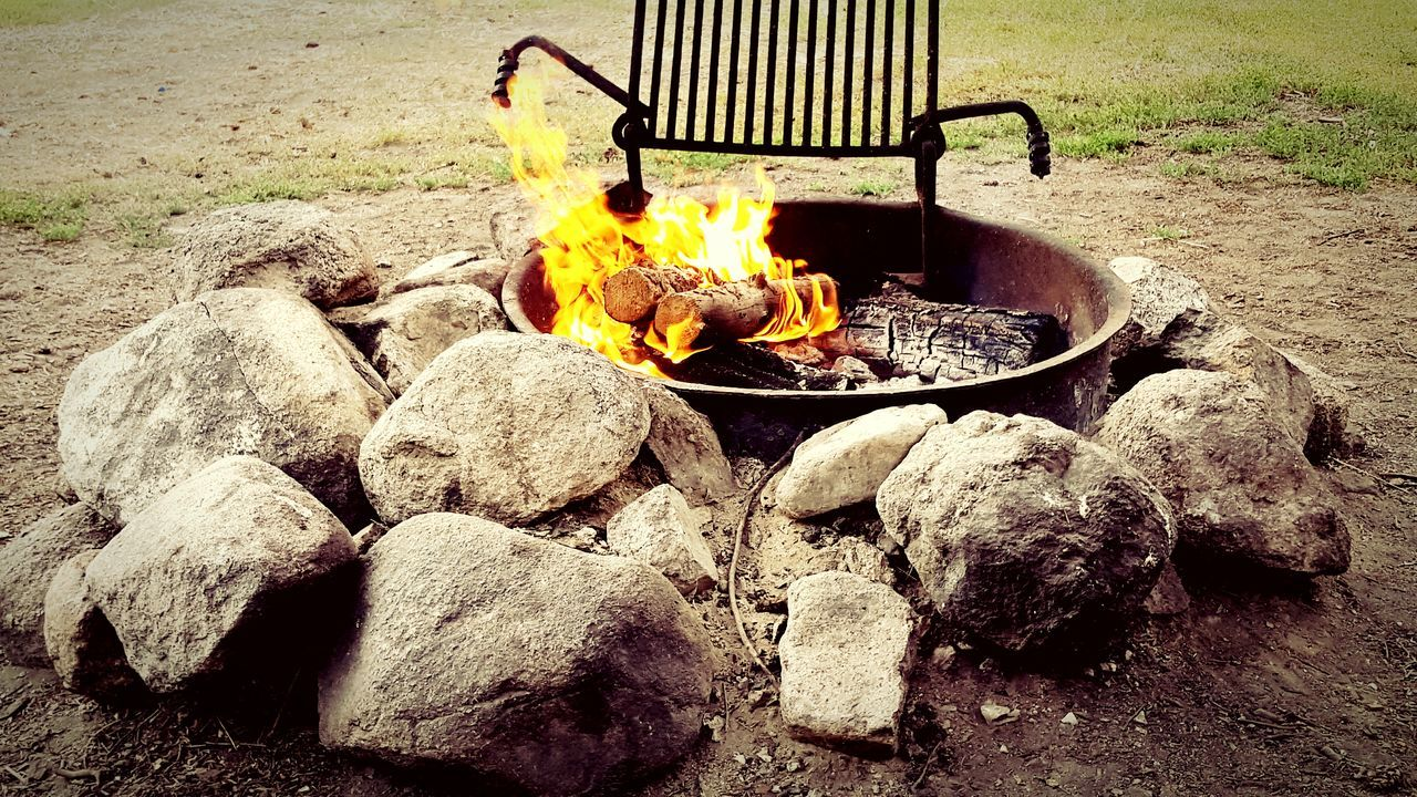 flame, heat - temperature, burning, fire pit, no people, bonfire, outdoors, ash, preparation, day, food, close-up