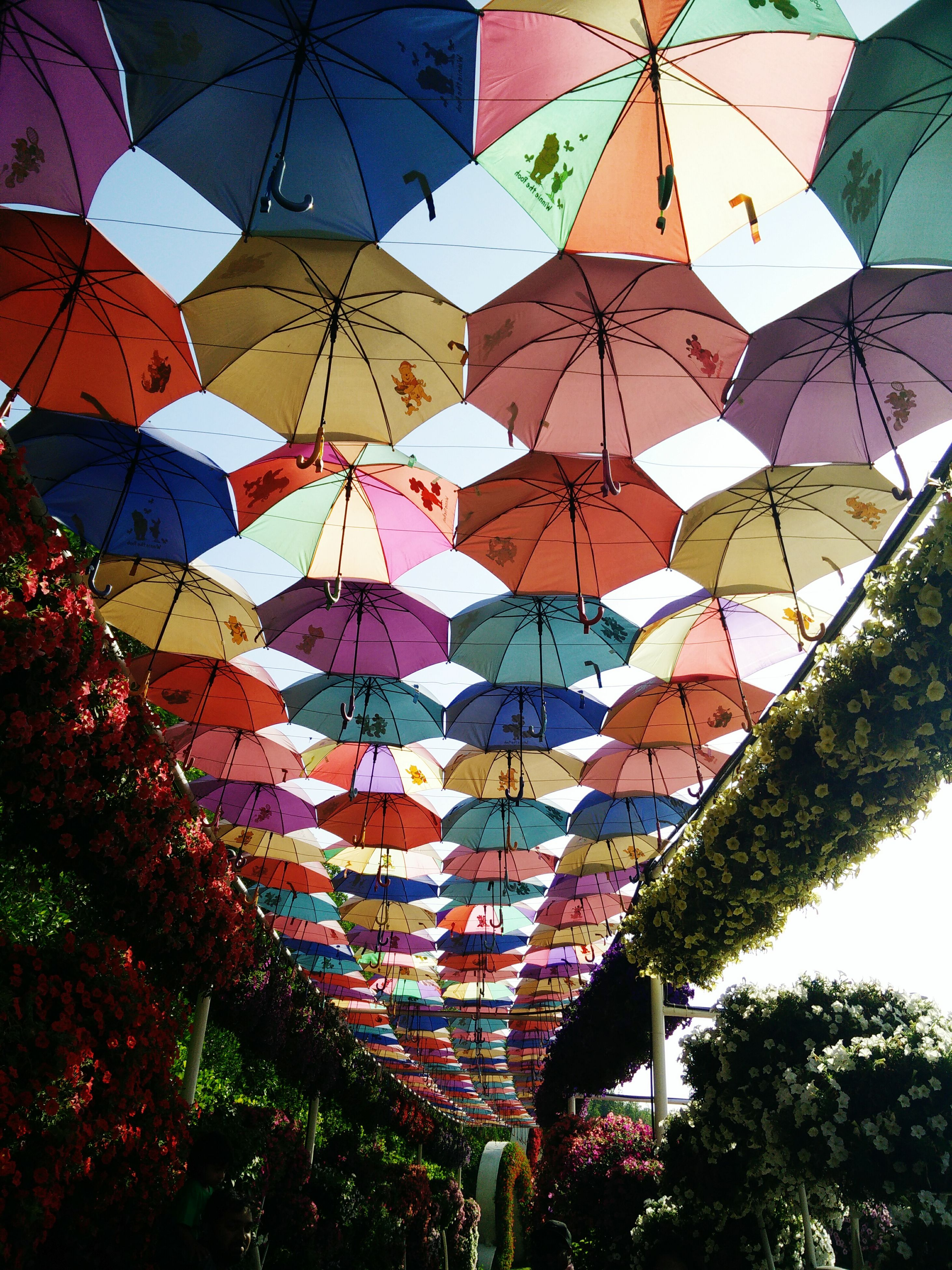 low angle view, multi colored, architecture, built structure, decoration, hanging, building exterior, umbrella, ceiling, full frame, pattern, design, backgrounds, sky, tree, cultures, day, tradition, outdoors, no people