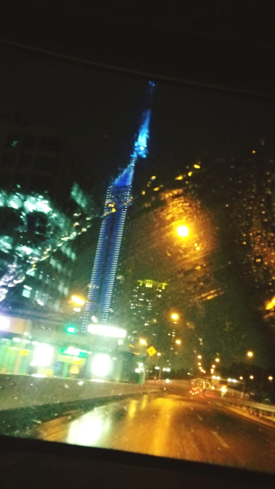 The urban expressway where it rain. Fukuoka Tower Rain In The Car Urban Expressway Night View From The Car Window Japan AQUEOUS PHONE