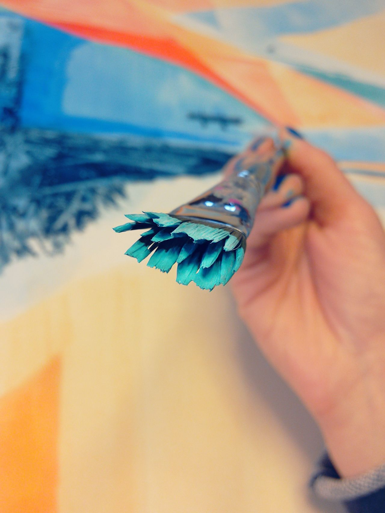 Paint Brush In Hand Painting In Progress Human Hand One Person Human Body Part Close-up One Woman Only Indoors  Blue Nails Skill  ArtWork Painting Turqoise Blue Orange Color Complementary Colors Hands At Work