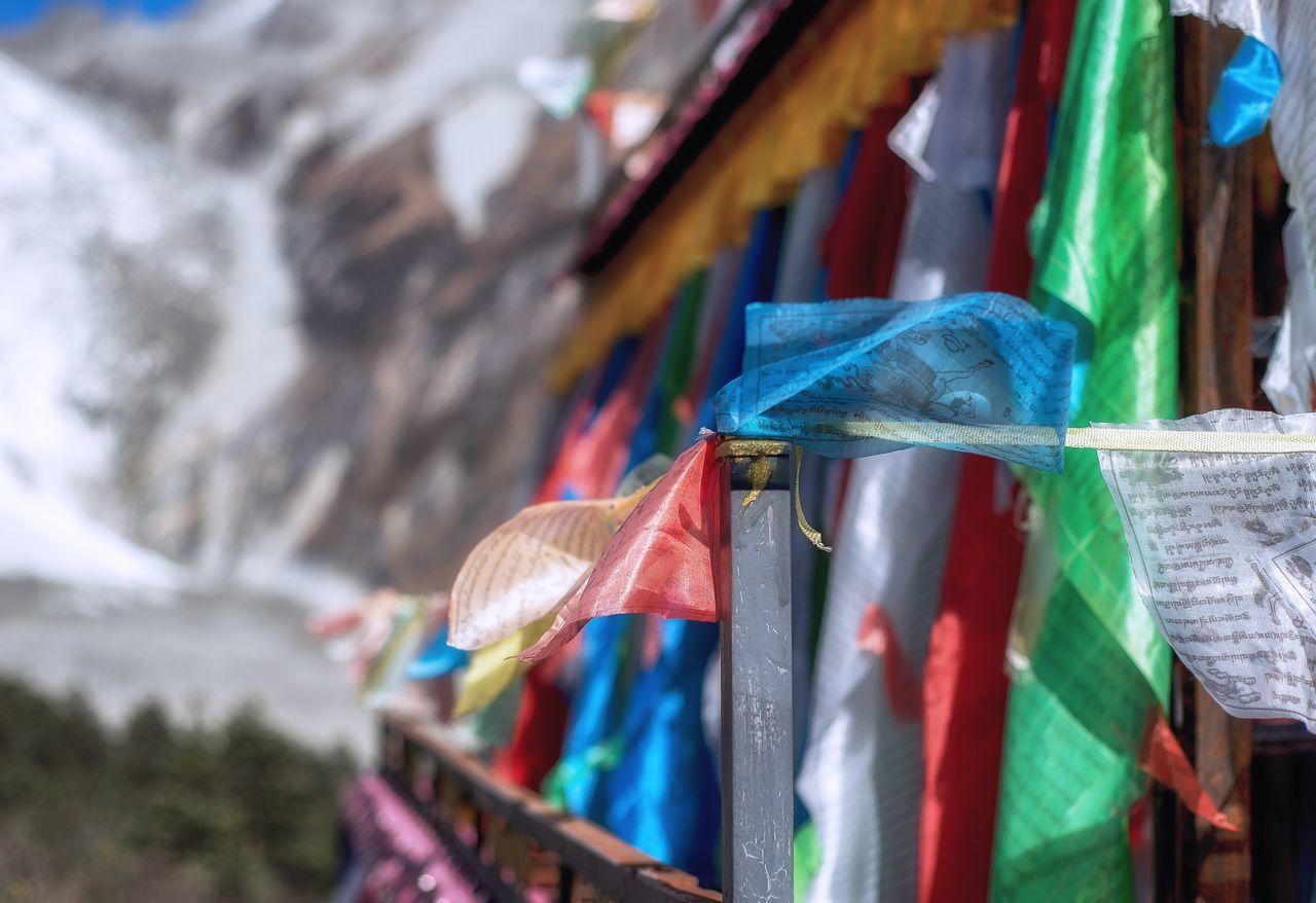 Sichuan Province Hailuogou Valley Snowmountain Tibetan Prayer Flags Culture