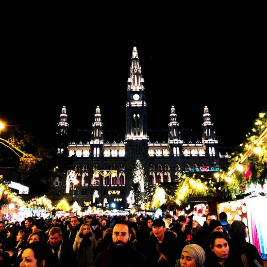 #Vienna #winterishere #hometown #winteriscoming #Vienna Large Group Of People Night Building Exterior Illuminated Religion Architecture Tradition Sky