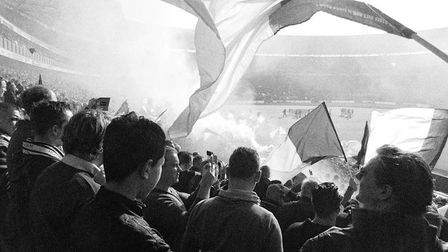 Black And White Monochrome Photography Getting Ready To Rumble at the Opening of the Klassieker Match Of The Day Feyenoord of Rotterdam against Ajax of Amsterdam People Getting Ready Large Group Of People Crowd Enjoyment Carefree Performance Real People Togetherness Rotterdam No People Netherlands (c) 2016 Shangita Bose All Rights Reserved Urban Feyenoord Stadium Feyenoord Rotterdam